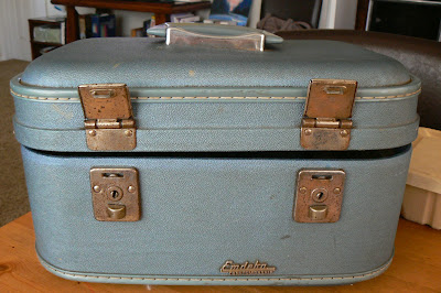 upcycled train case before closed