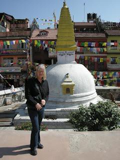 standing in front of Boudhanath Stupa Kathmandu