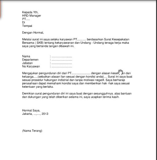 Contoh Surat Pengunduran Diri / Resign Kerja yang Baik dan Benar