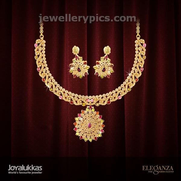 Beautiful joyalukkas gold necklace designs Eleganza collection