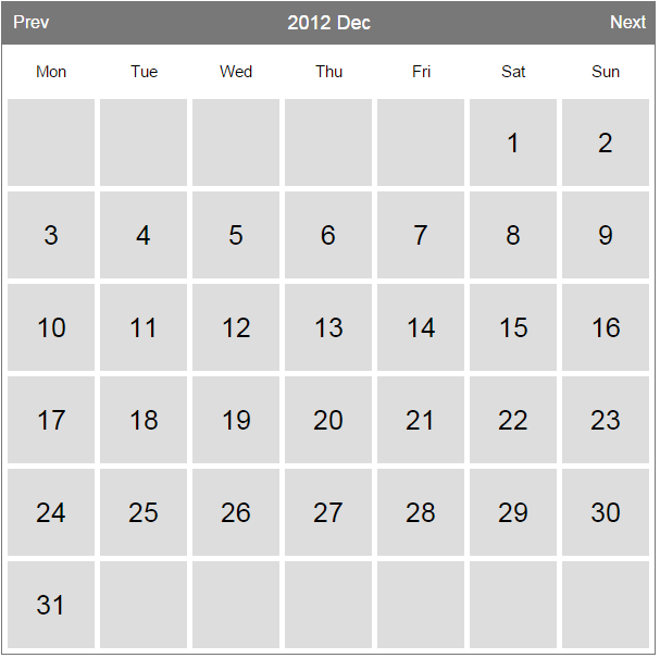 Calender code in PHP