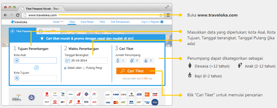 Cara cari penerbangan di traveloka