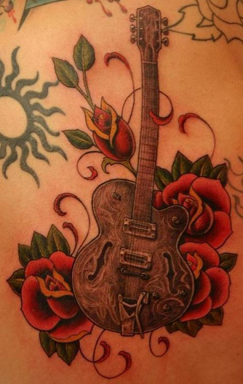 meaning as the guitar itself guitar tattoos chosen by girls are often
