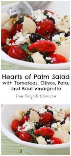 Hearts of Palm Salad Recipe with Tomatoes, Olives, Feta, and Basil Vinaigrette (Low-Carb, Gluten-Free) [from KalynsKitchen.com]