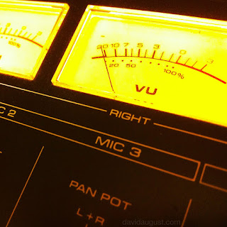 image of the volume meter on an audio mixer