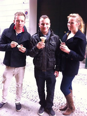 Enjoying our ice cream from Amorino Gelateria