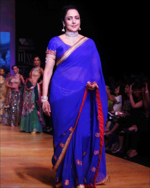 Hema malini in blue transparent saree