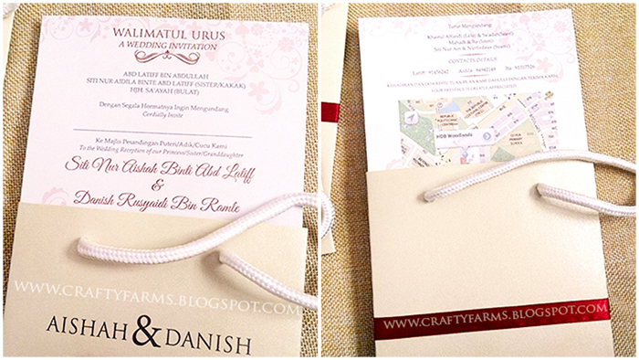 Modern Red Bow Paper Bag Themed Wedding Card