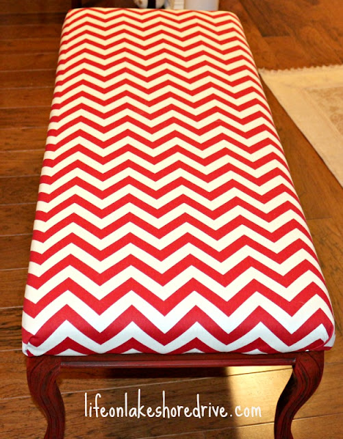 how to makeover a bench using chevron fabric and chalk paint