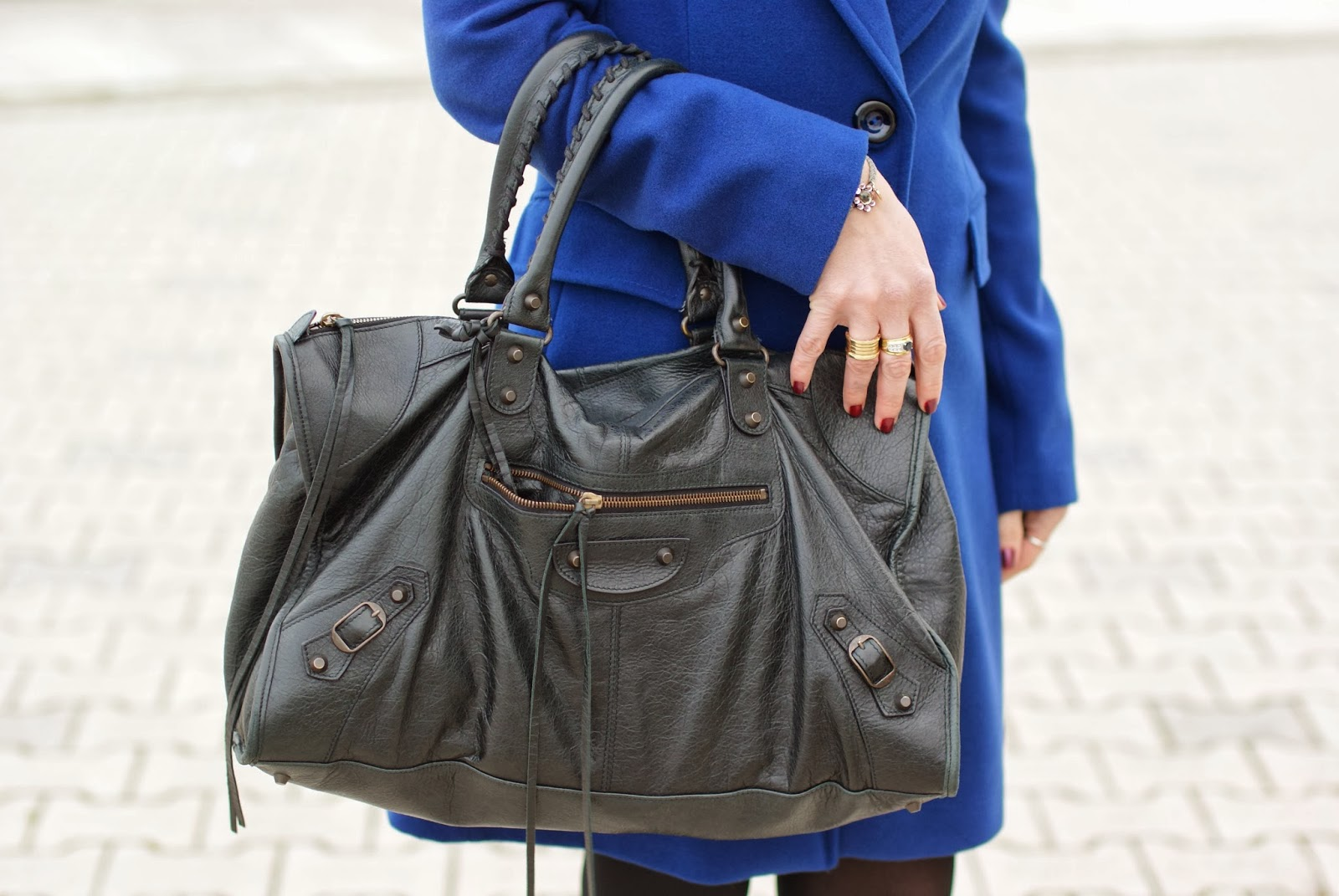 cobalt blue coat, black Balenciaga work bag, Fashion and Cookies, fashion blogger