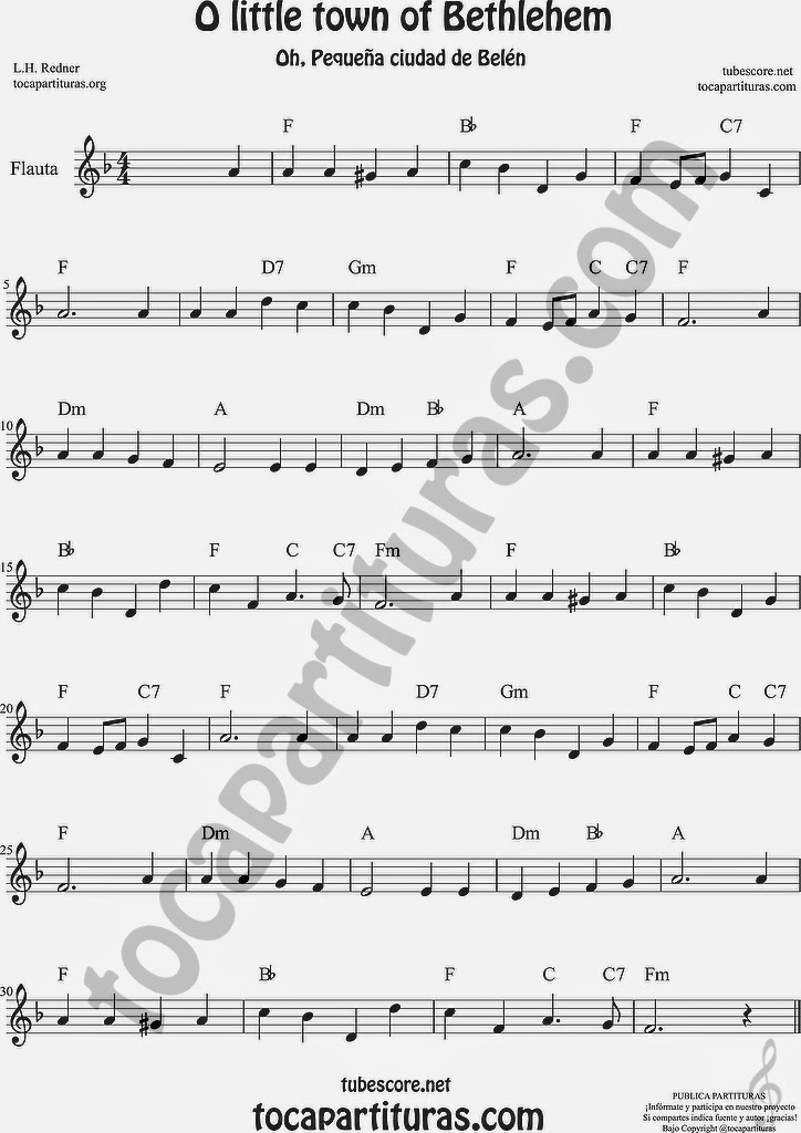 O little town of Bethlehem Partitura de Flauta Travesera, flauta dulce y flauta de pico Sheet Music for Flute and Recorder Music Scores