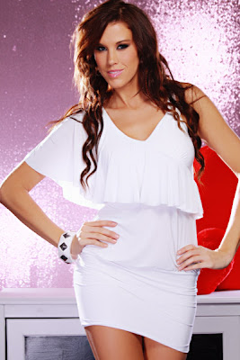 WHITE RHINESTONE V NECK FLUTTER BANDED SEXY MINI DRESS