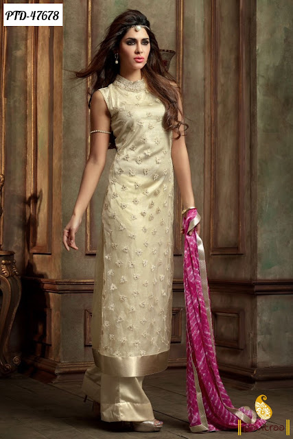 Diwali season special cream chiffon anarkali salwar suit online shopping with exciting discount offer price at pavitraa.in