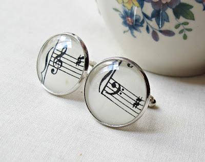 image two cheeky monkeys men's cufflinks sheet music treble clef bass clef cuff links vintage