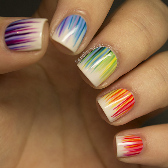 I used 20 different shades of nail polish in this nail art. Most of the  time spent on this mani was just screwing and unscrewing the bottles! - 31DC2013 Day 9: Rainbow Nails - The Nailasaurus UK Nail Art Blog