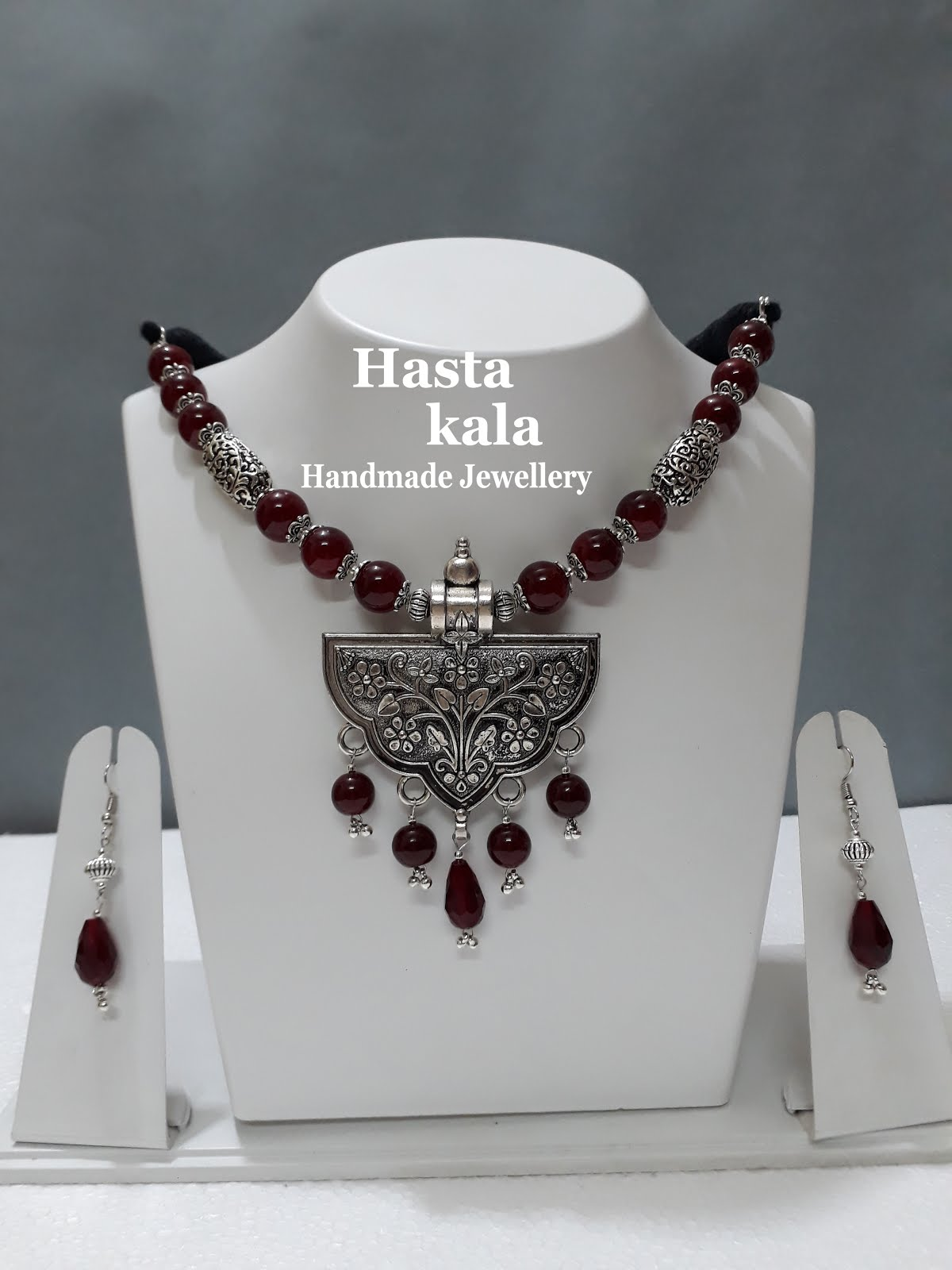 A Beautiful Combination of Red Colour Glass Beads with German Silver Pendant Necklace