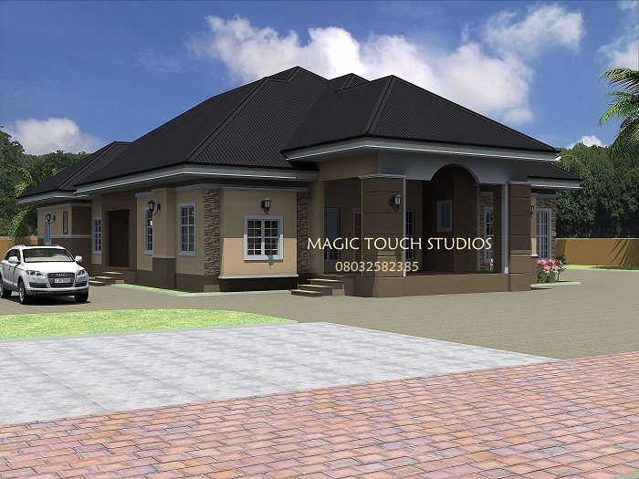 Residential homes and public designs april 2012 Four bedroom bungalow plan
