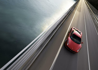 Ferrari On The Road Blue Water HD Wallpaper