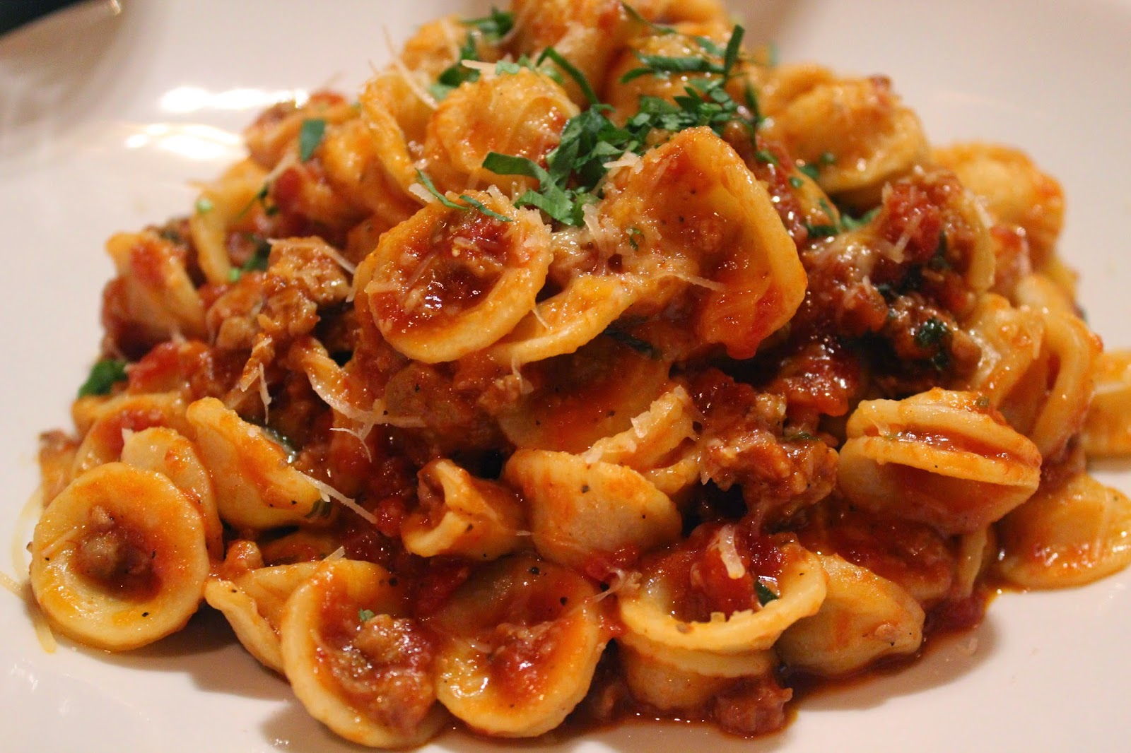 Orecchiette with sausage ragu at Orta, Pembroke, Mass.