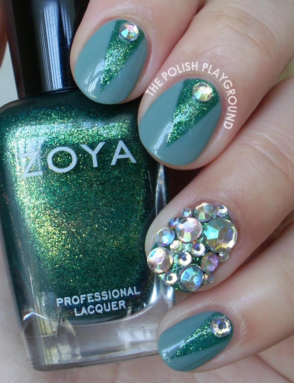 Green Color Block with Rhinestones Nail Art