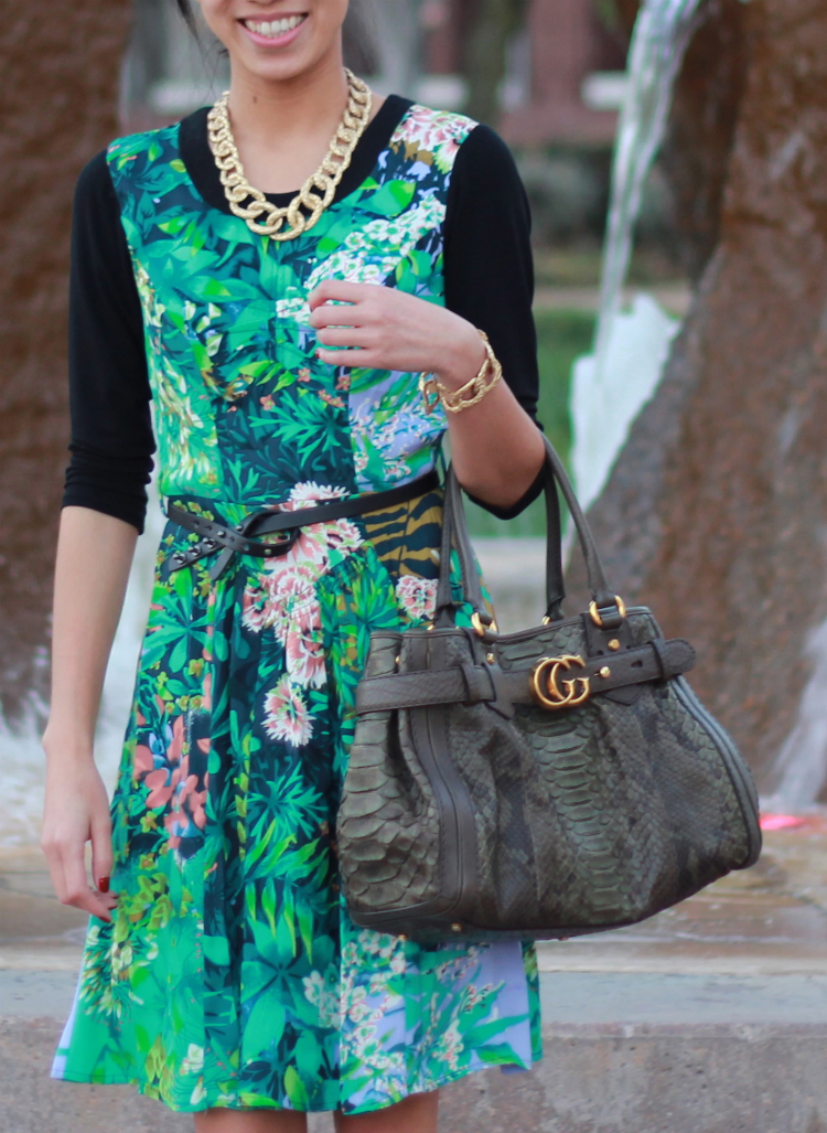 Tracy Reese dress rainforest croc-etched jewelry gucci running tote