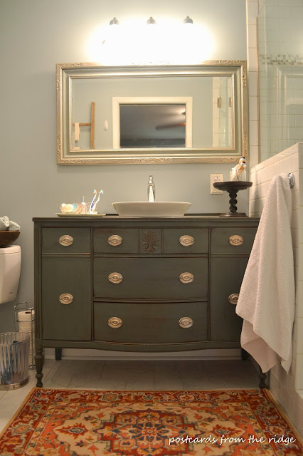 I love this vanity made from an old buffet.  Lots of other great bathroom ideas here.