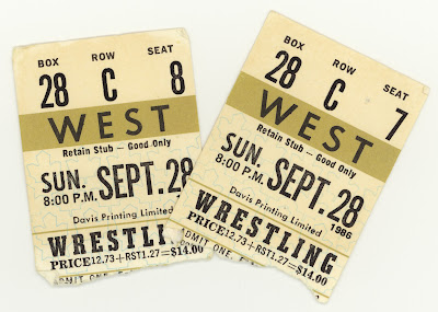 A pair of gold tickets to wrestling at Maple Leaf Gardens in 1986.