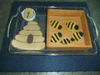 NAMC montessori preschool classroom activities learning about honeybees paper beehive counting