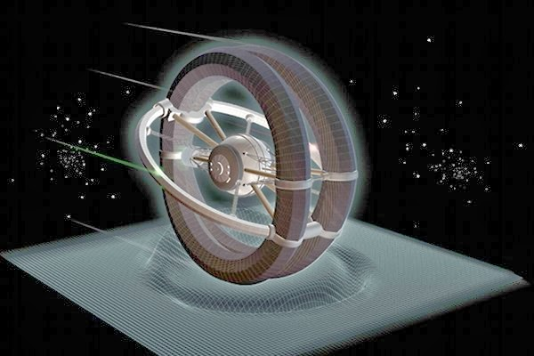 Dibujo de un hipotético motor WARP que curva negativamente el espacio-tiempo