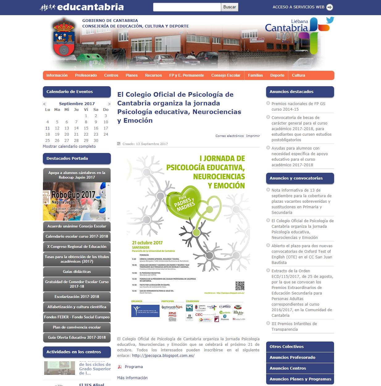 Noticia en el portal Educantabria