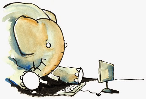 Confused Elephant On A Computer