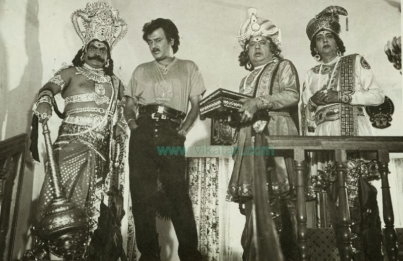 Rajinikanth with Cho Ramaswamy, Vinu Chakravarthy & V.K. Ramaswamy in 'Athisaya Piravi' (1990) Tamil movie 2