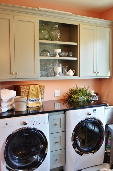 The granite gurus faq friday granite countertop over a for Laundry room countertop over washer and dryer