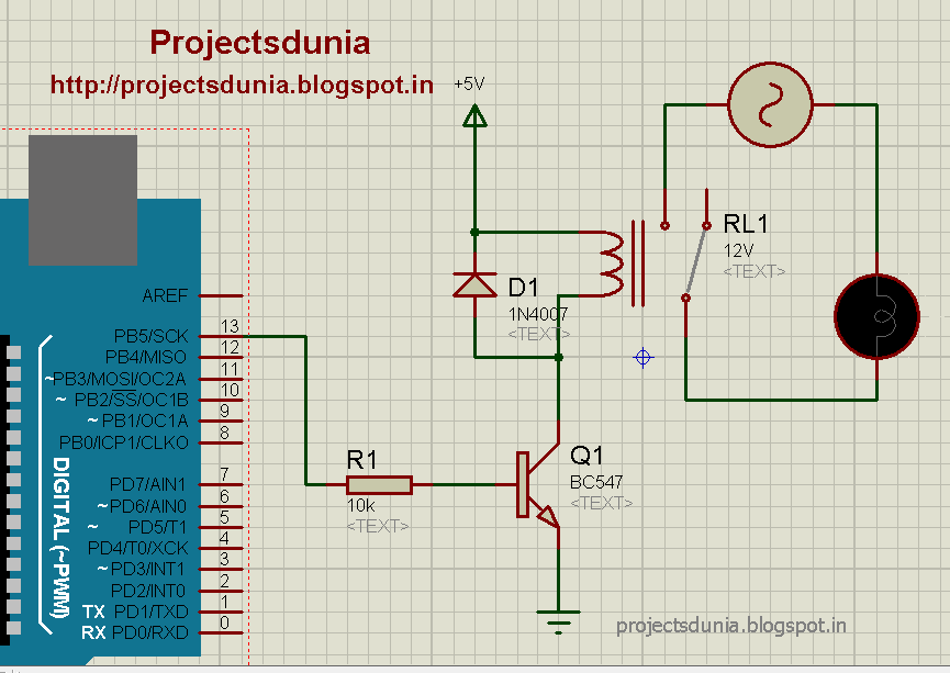 How To Interface Relay With Arduino PROJECTSDUNIA