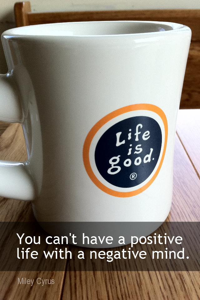 visual quote - image quotation for POSITIVE THINKING - You can't live a positive life with a negative mine. - Miley Cyrus