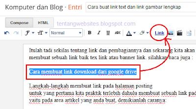 Cara buat link text dan link gambar
