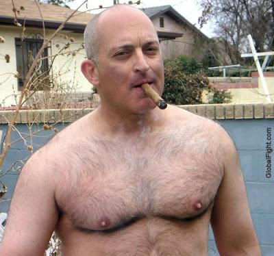 cigar dad - cigar bald man - hairy bald