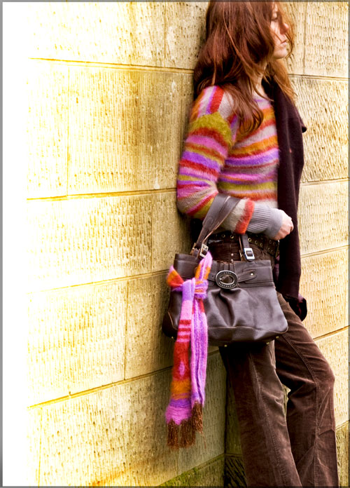 Psynopsis Self-Knitted Angora Sweater and Scarf Anya Hindmarch Bag New Look Corduroy Trousers