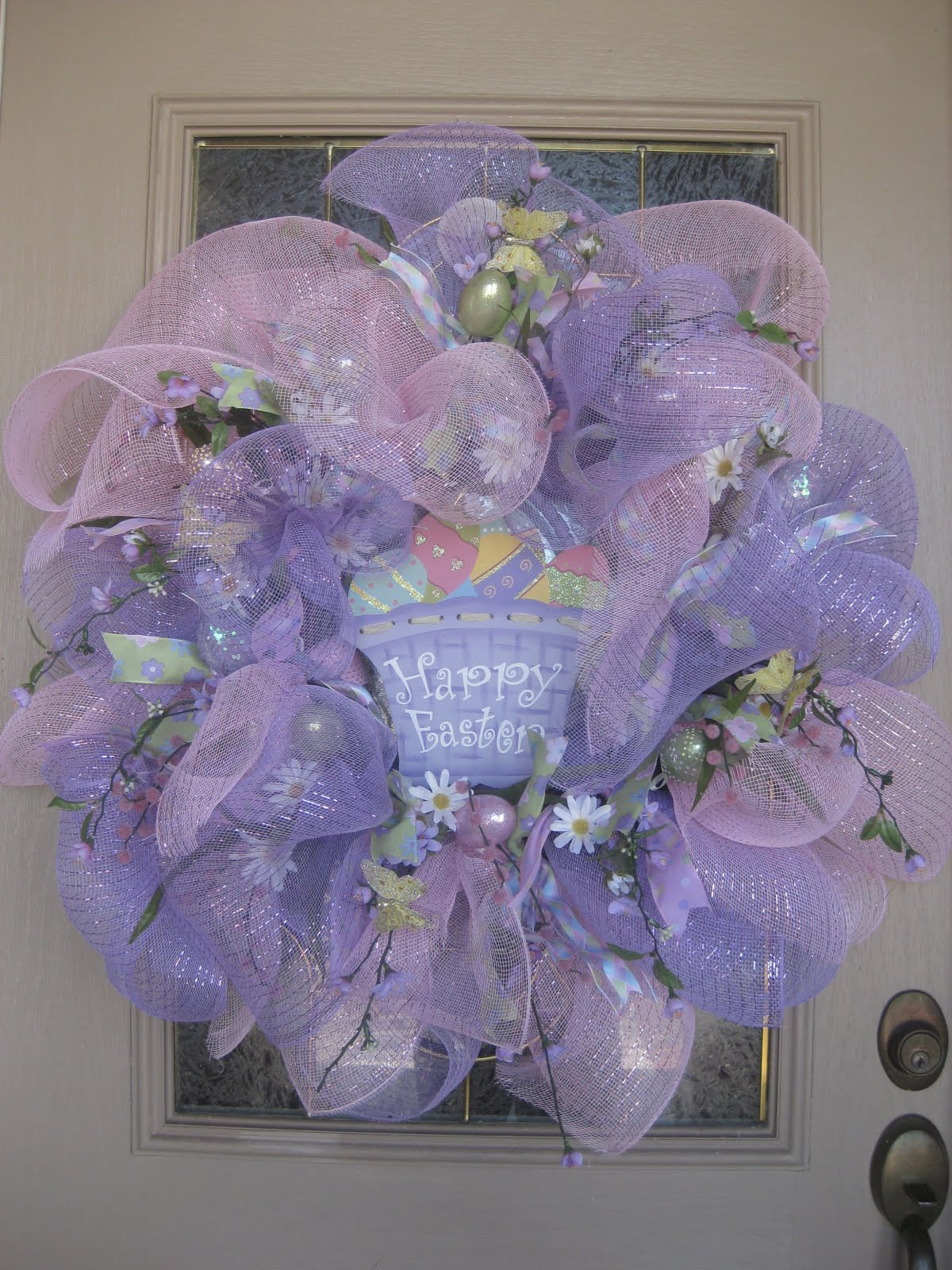Kristen 39 s creations easter mesh wreath tutorial for How to make door wreaths for spring