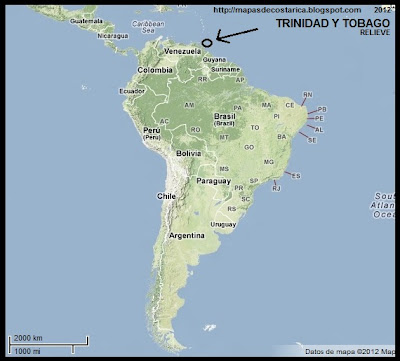 Sudamrica. Mapa de Relieve. Ubicacin de TRINIDAD Y TOBAGO en Sudamrica