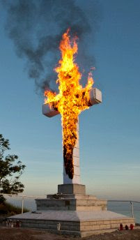 Burning cross in Strunjan, Slovenia