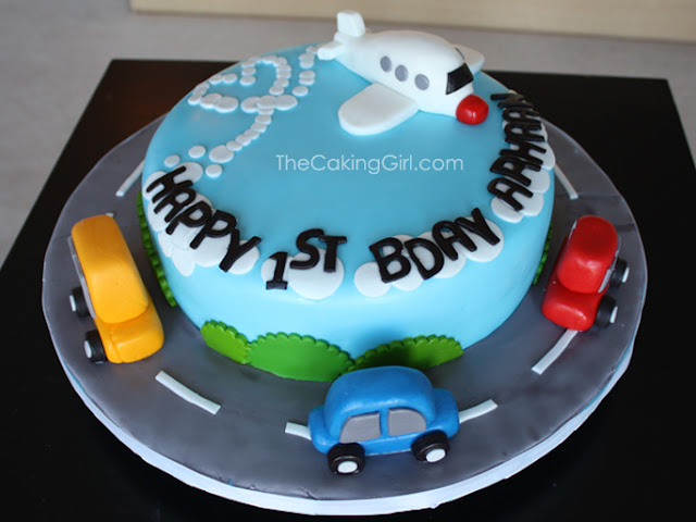 airplane and cars cake