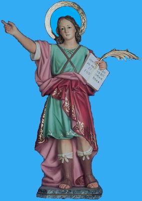 Imagen de San Pancracio con el libro y la palma de martir.