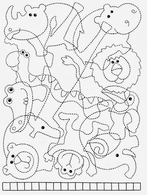 coordenação viso-motora, animais, pontilhados, macaco, jacaré