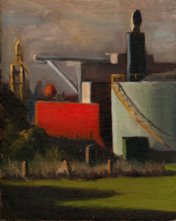 Oil painting of a red-hulled ship beside a pale blue oil storage tank.