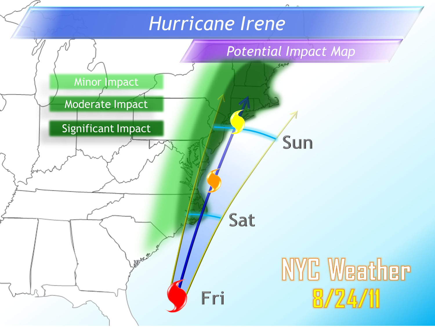 irene s us nyc impact irene will be a large and intense hurricane when reaching the area and is still expected to be a category 1 or 2 hurricane when
