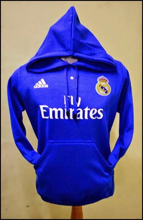 Jumper Hoodie Bola Polos (Satu Warna) - Real Madrid Biru