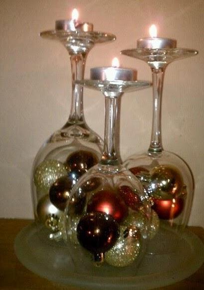 Centro de mesa con copas y velas especial de navidad 2018 - Como decorar centros de mesa para navidad ...