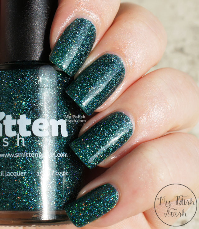 deep teal holographic polish