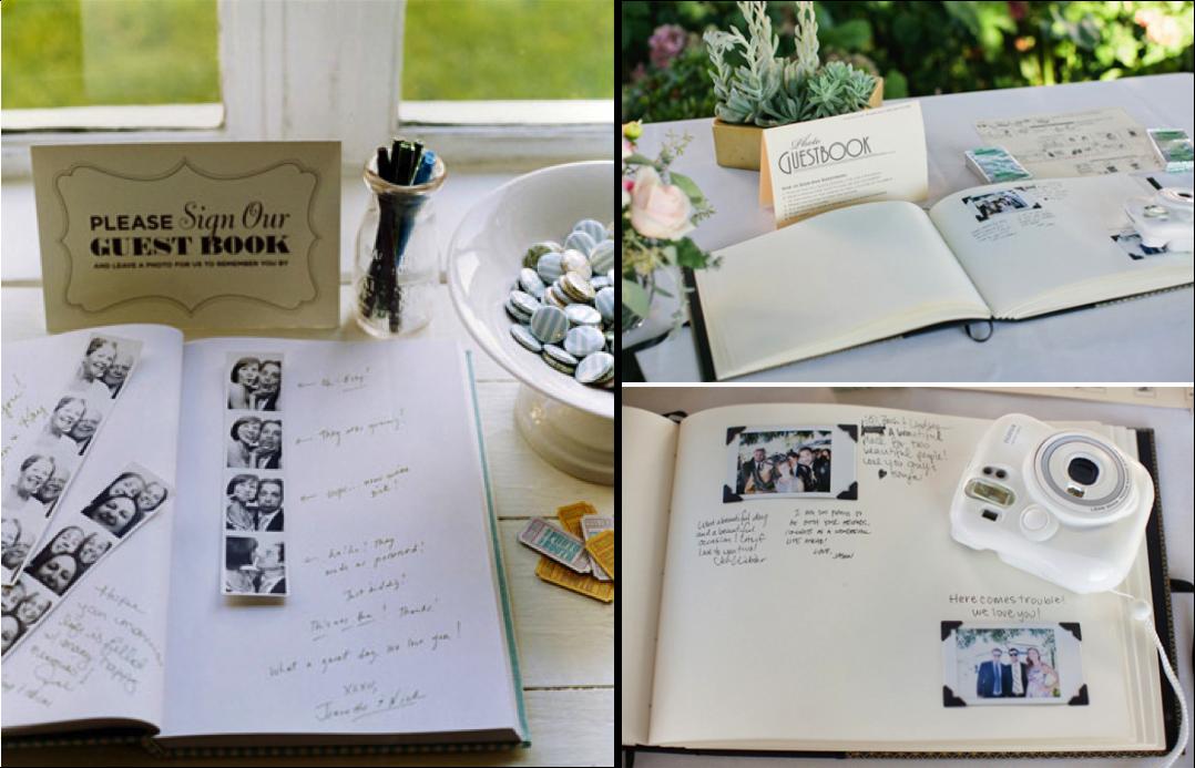 Fotomatón o polaroid con un libro de firmas